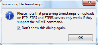 FTP servers must support MFMT command - FileZilla