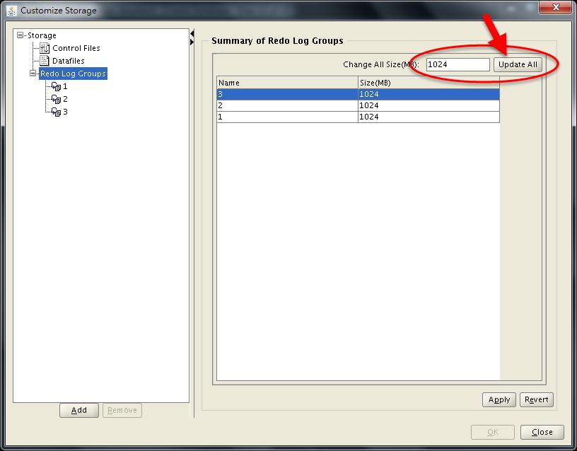 DBCA Storage Configuration - Change Redo Log Size - 02