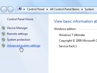 Windows 7 - Advanced system settings