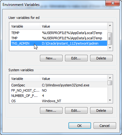 Windows 7 - TNS_ADMIN Environment Variable Entry