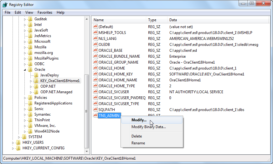 Oracle Software Registry - Modify TNS_ADMIN