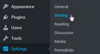 Wordpress Settings Writing