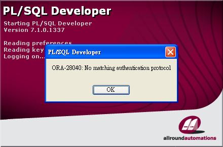 ORA-28040 in PL/SQL Developer