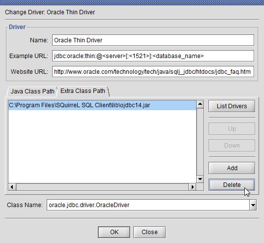SQuirreL SQL Client - Delete ojdbc14.jar Oracle JDBC driver