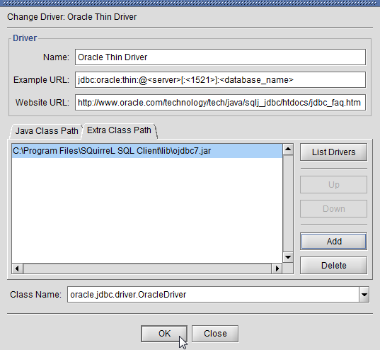 SQuirreL SQL Client - ojdbc7.jar Oracle JDBC driver added