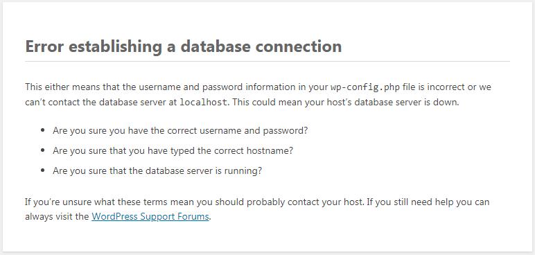 WordPress - Error establishing a database connection