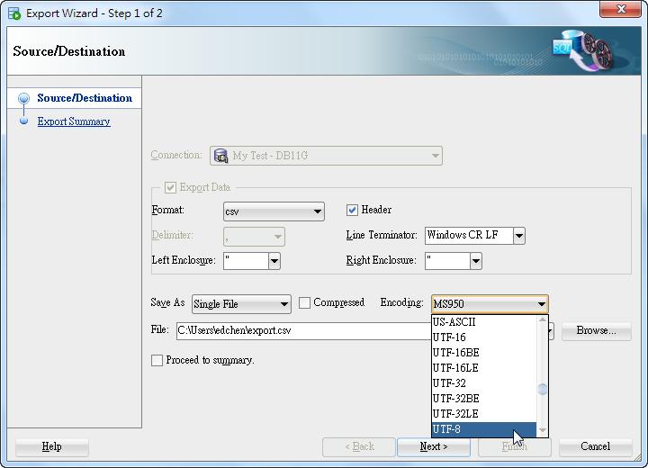 SQL Developer Query Result - Export Encoding