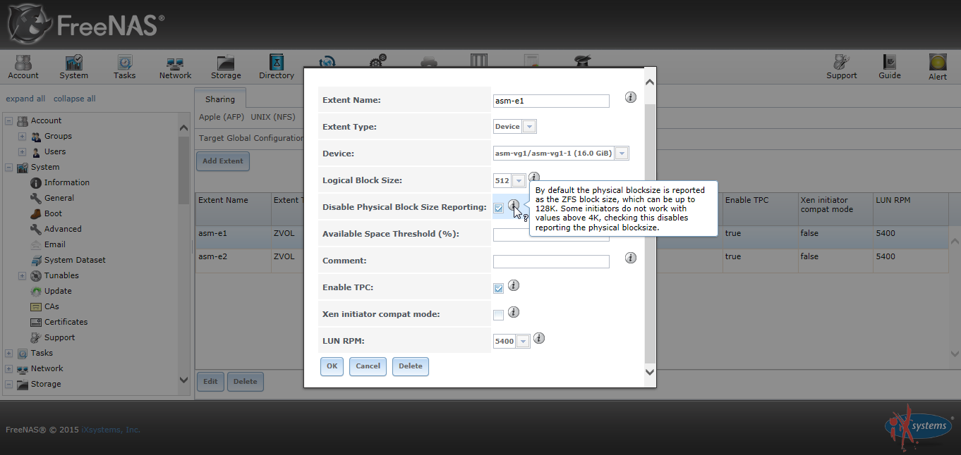 Freenas Disable Physical Block Size Reporting 01