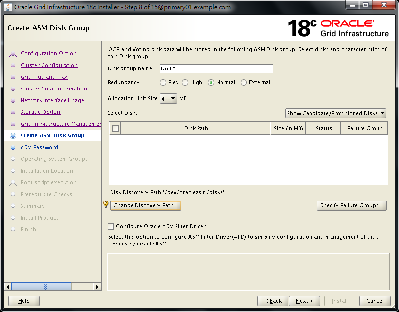 Oracle 18c Grid Infrastructure Installation OUI - Change Discovery Path - /dev/oracleasm/disks