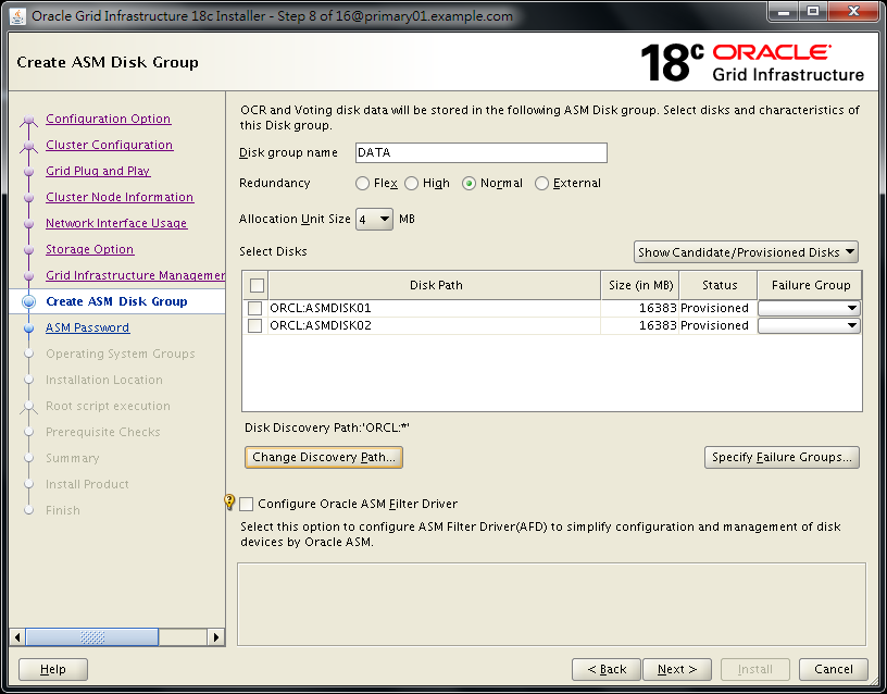 Oracle 18c Grid Infrastructure Installation - Found ORCL Disk Candidates After Changing ORACLEASM_USE_LOGICAL_BLOCK_SIZE to true