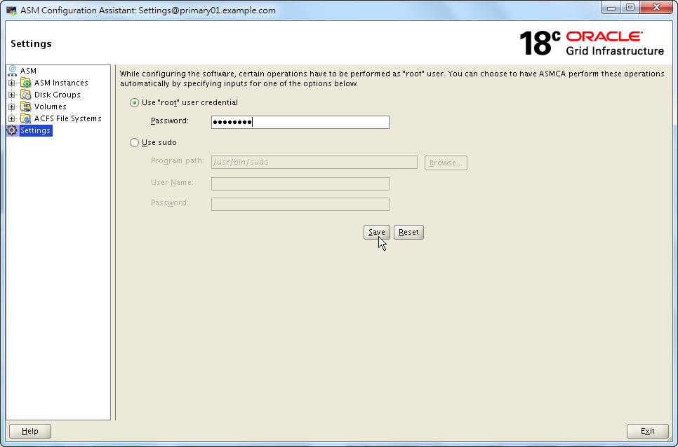 ASMCA 18c - Set root Credential