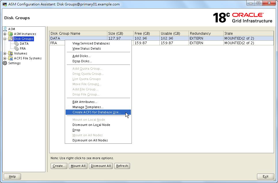 ASMCA 18c – Create ACFS for Database Use Shortcut - Menu