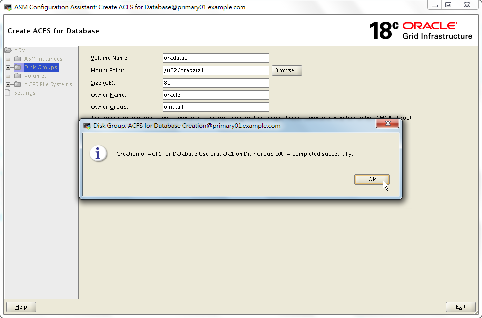ASMCA 18c – Create ACFS for Database Use Shortcut - Created