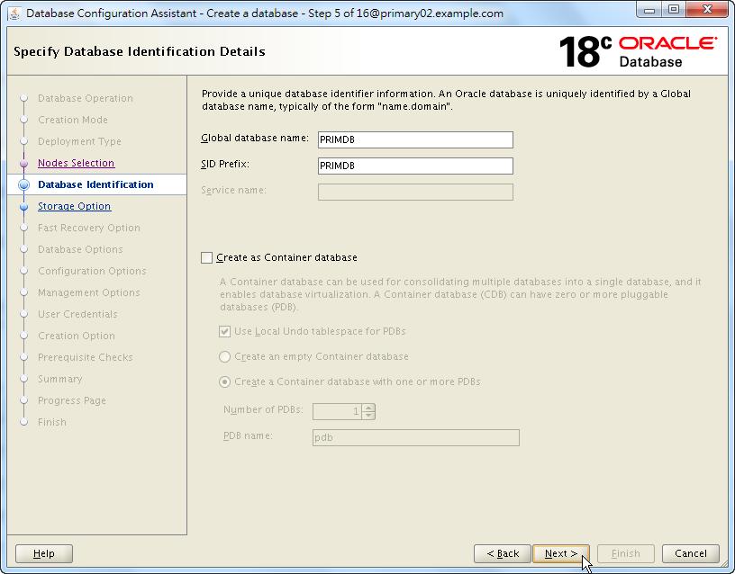 Oracle Database 18c - DBCA - Specify Database Identification Details