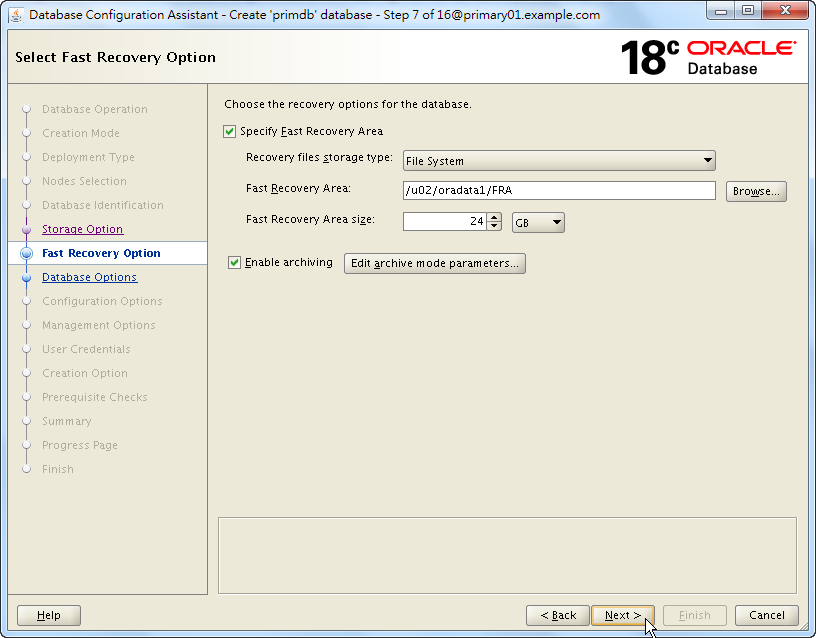 Oracle Database 18c - DBCA - Select Fast Recovery Option