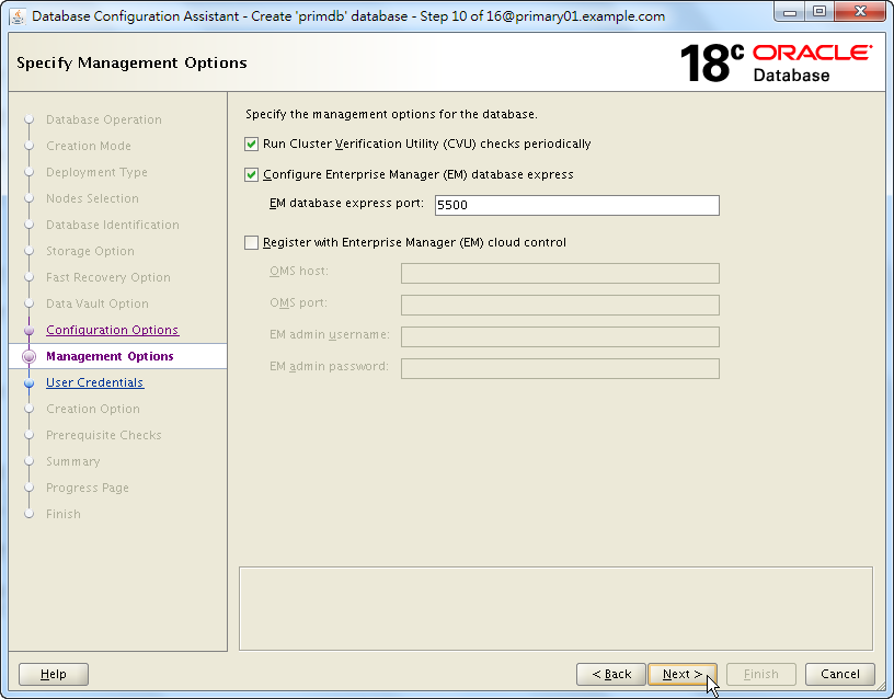 Oracle Database 18c - DBCA - Specify Management Options