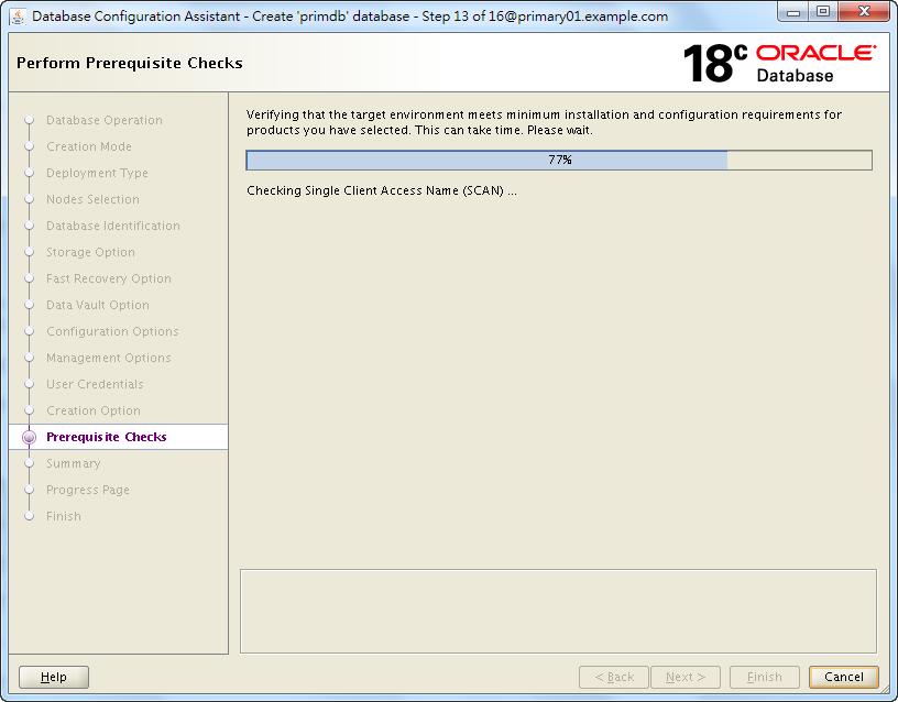 Oracle Database 18c - DBCA - Perform Prerequisite Checks