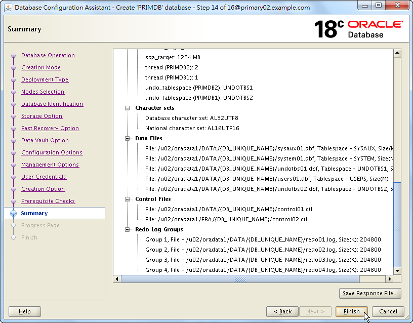 Oracle Database 18c - DBCA - Summary - Finish