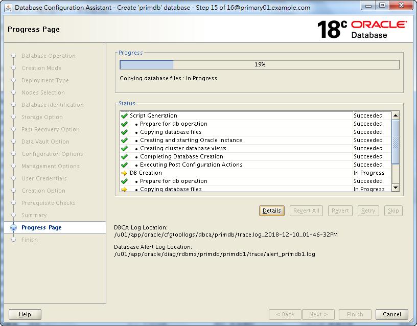 Oracle Database 18c - DBCA - Database Creating
