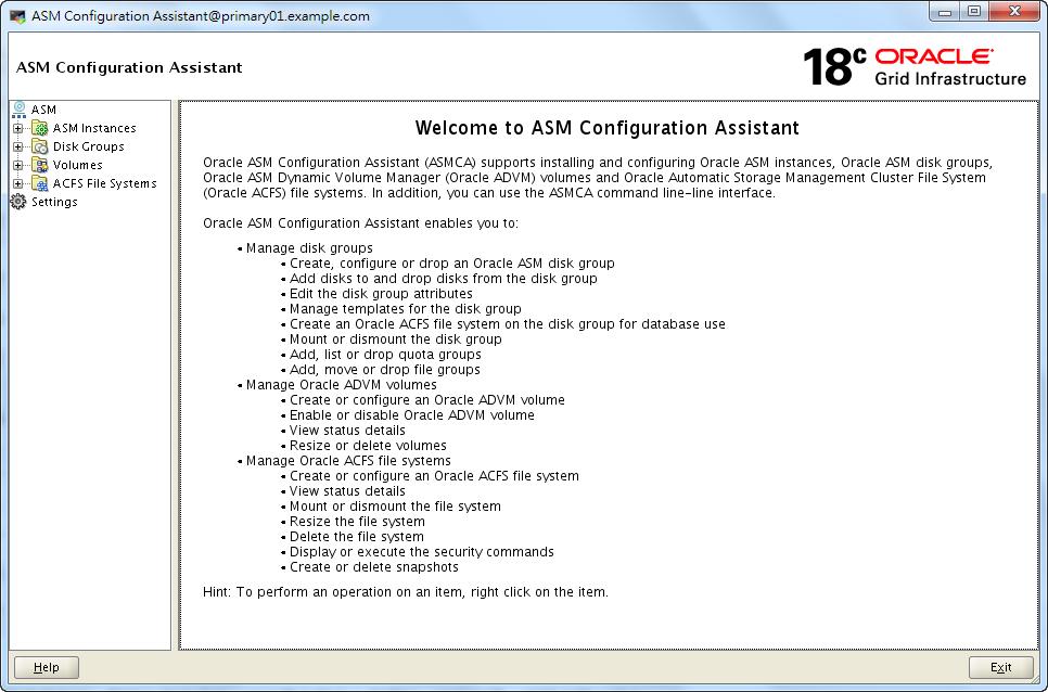 Oracle 18c ASMCA