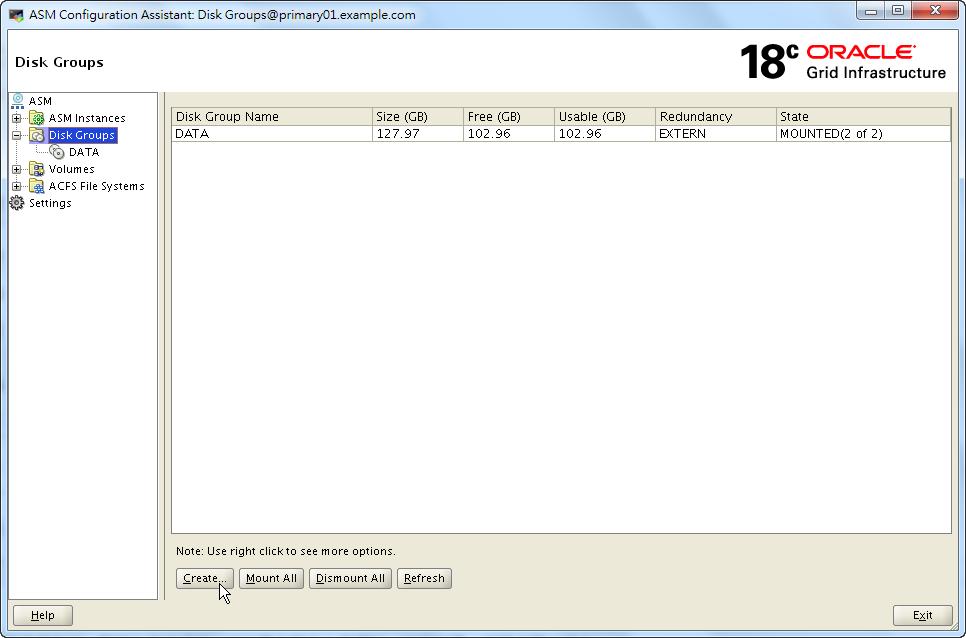 Oracle 18c ASMCA - Disk Groups