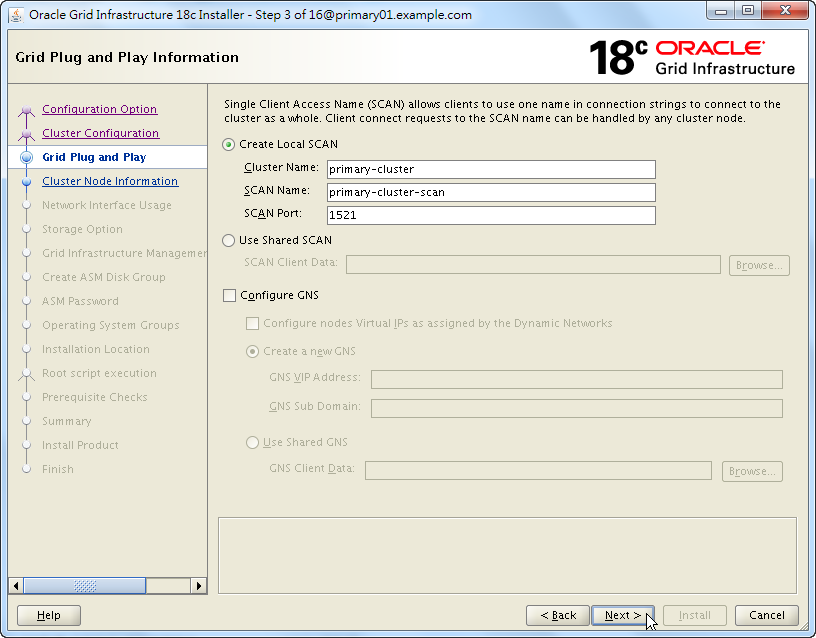 Oracle 18c Grid Infrastructure Installation - Grid Plug and Play Information