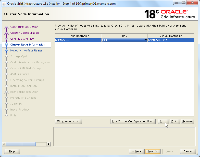 Oracle 18c Grid Infrastructure Installation - Cluster Node Information
