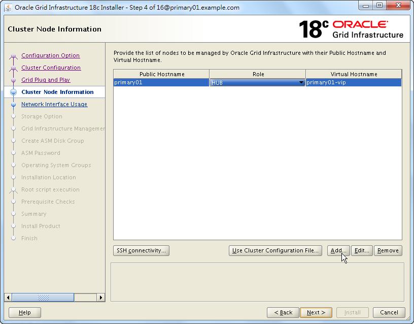 Oracle 18c Grid Infrastructure Installation - Cluster Node Information