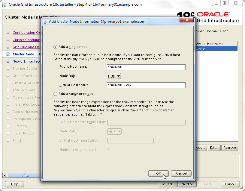 Oracle 18c Grid Infrastructure Installation - Cluster Node Information - Add Node
