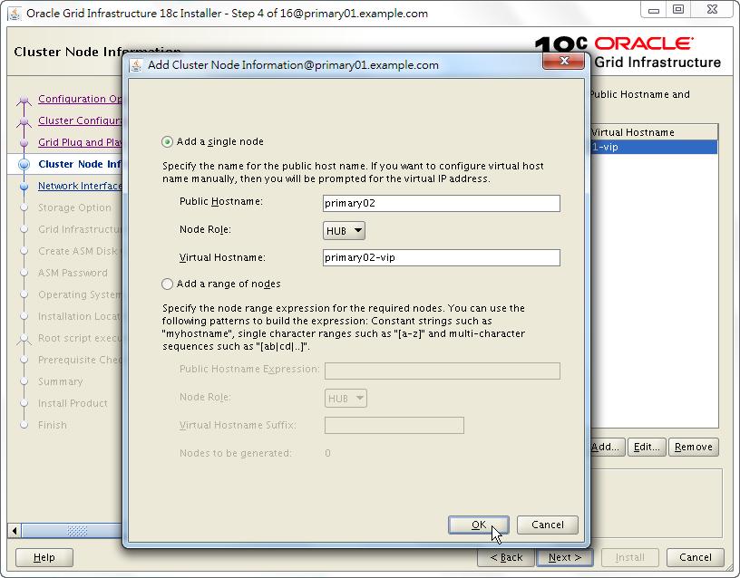 Oracle 18c Grid Infrastructure Installation - Cluster Node Information - Add Node