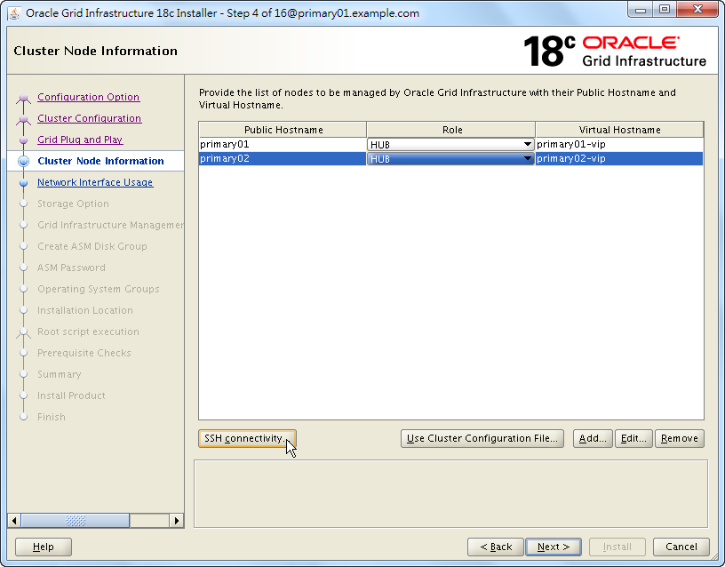 Oracle 18c Grid Infrastructure Installation - Cluster Node Information - List Nodes