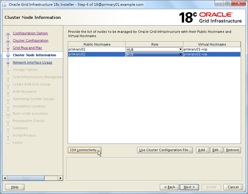 Oracle 18c Grid Infrastructure Installation - Cluster Node Information - List Nodes