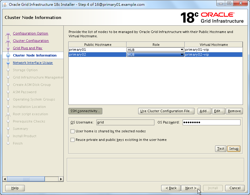 Oracle 18c Grid Infrastructure Installation - Cluster Node Information - Next Step