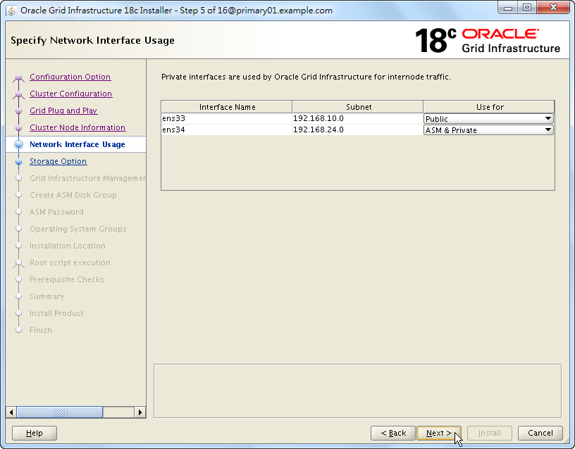 Oracle 18c Grid Infrastructure Installation - Specify Network Interface Usage