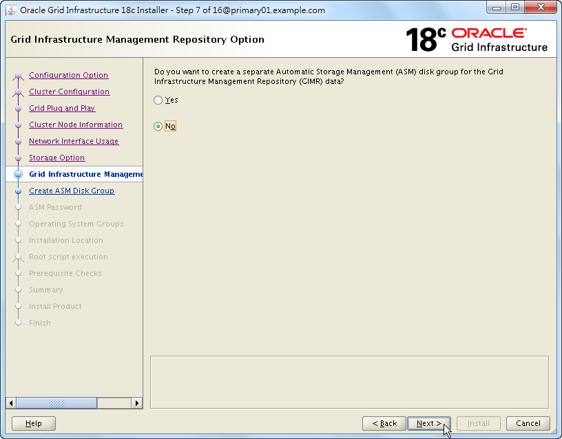 Oracle 18c Grid Infrastructure Installation - Grid Infrastructure Management Repository Option