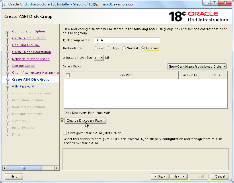 Oracle 18c Grid Infrastructure Installation - Create ASM Disk Group