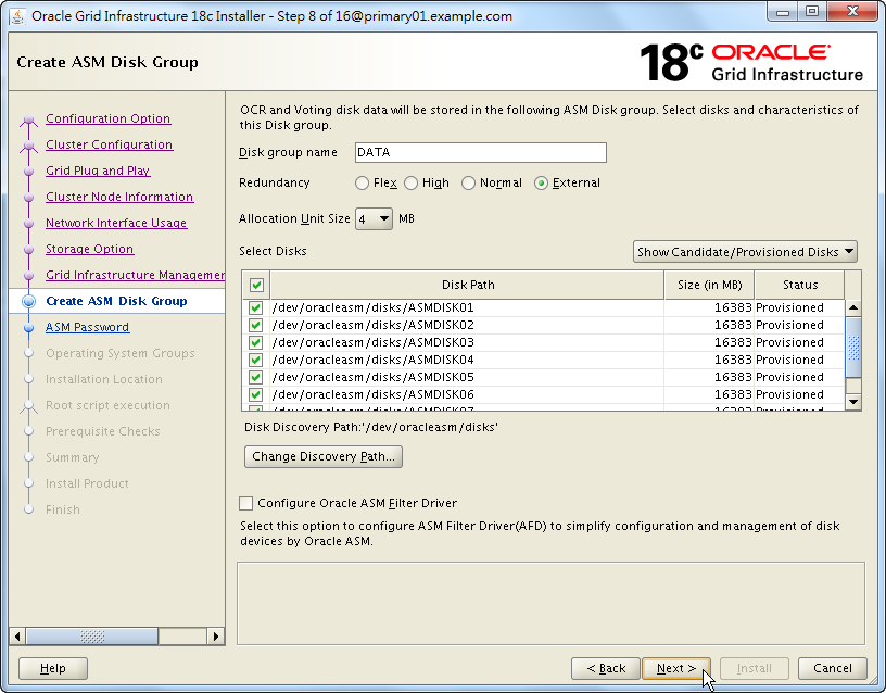 Oracle 18c Grid Infrastructure Installation - Create ASM Disk Group - List and Select Disk Candidates