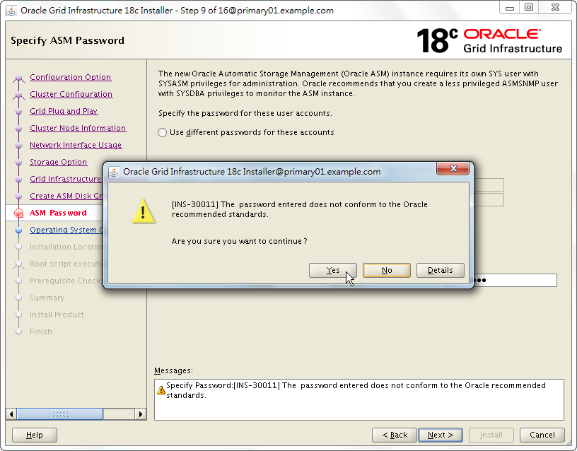 Oracle 18c Grid Infrastructure Installation - Specify ASM Password - INS-30011