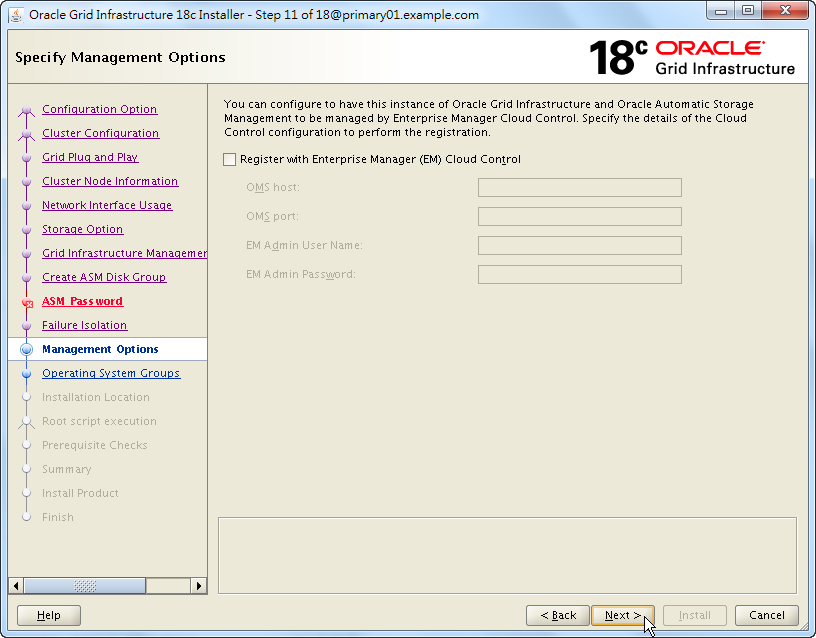 Oracle 18c Grid Infrastructure Installation - Specify Management Options