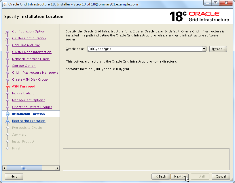 Oracle 18c Grid Infrastructure Installation - Specify Installation Location