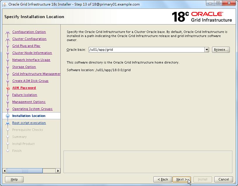 Oracle 18c Grid Infrastructure Installation - Specify Installation Location