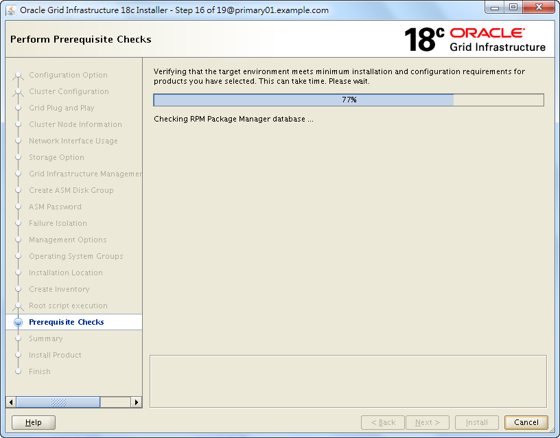 Oracle 18c Grid Infrastructure Installation - Perform Prerequisite Checks