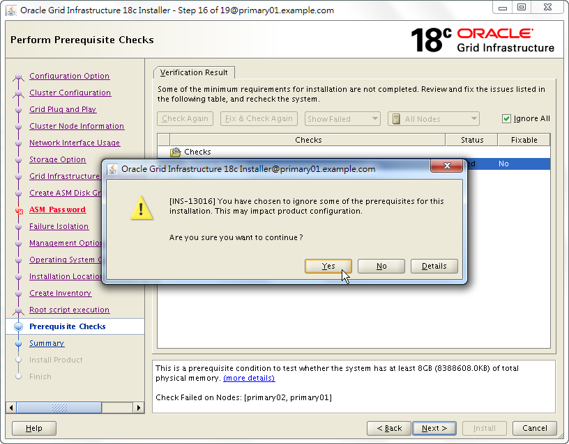 Oracle 18c Grid Infrastructure Installation - Perform Prerequisite Checks - Verification Results - INS-13016
