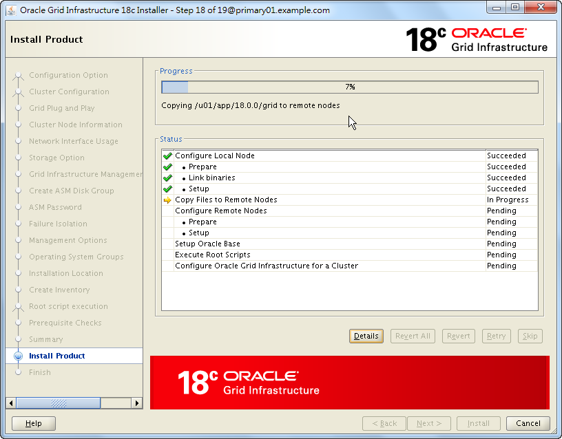 Oracle 18c Grid Infrastructure Installation - Installing Product