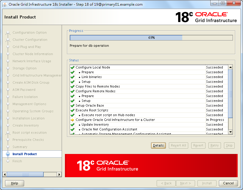 Oracle 18c Grid Infrastructure Installation - Installing Product - 69%