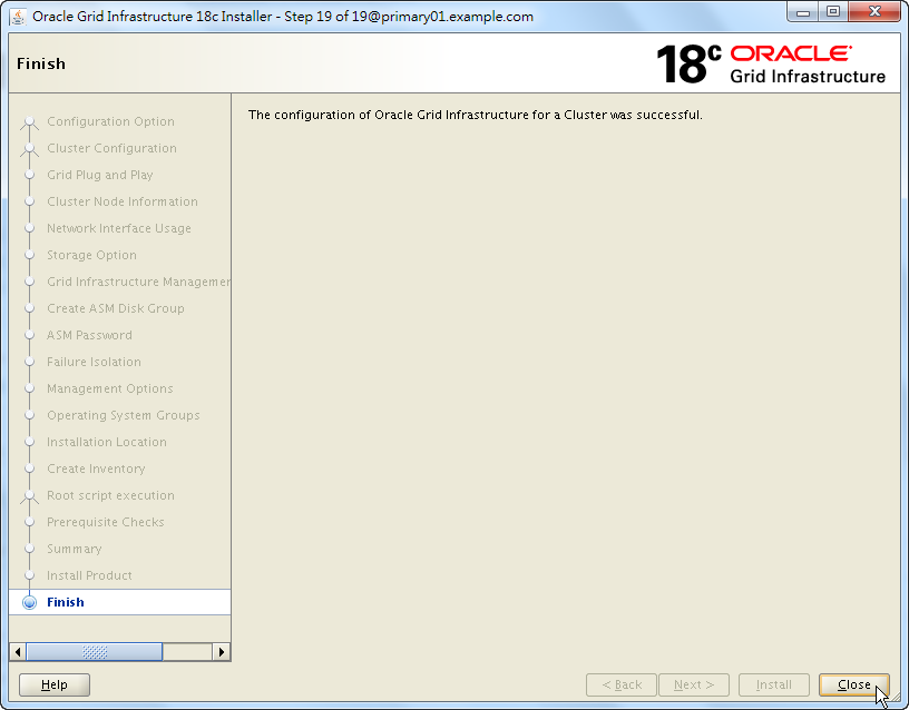 Oracle 18c Grid Infrastructure Installation - Finish