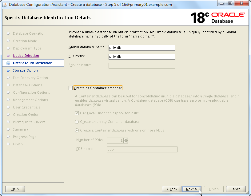 Oracle 18c DBCA - Create a RAC Database - Specify Database Identification Details