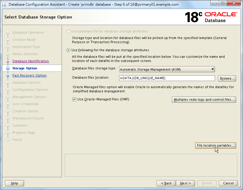 Oracle 18c DBCA - Create a RAC Database - Select Database Storage Option