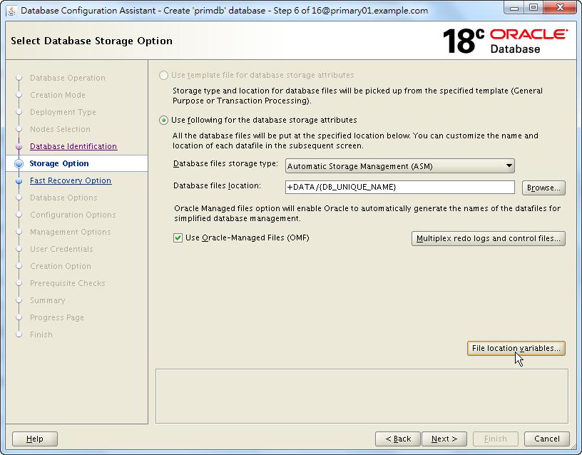 Oracle 18c DBCA - Create a RAC Database - Select Database Storage Option