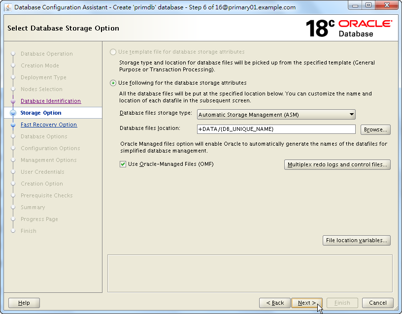 Oracle 18c DBCA - Create a RAC Database - Select Database Storage Option - Click Next